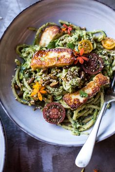 Green Goddess Zucchini Pasta with Fried Halloumi. : Green Goddess Zucchini Pasta with Fried Halloumi! A fresh green pasta with zucchini noodles and heavy, heavy Greek flavors. Healthy Dinner Recipes, Vegetarian Recipes, Cooking Recipes, Weeknight Recipes, Vegan Meals, Lunch Recipes, Drink Recipes, Delicious Recipes, Appetizer Recipes