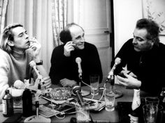 Jacques Brel, Léo Ferré and Georges Brassens,  is on set at the Studio-Theatre of Paris (january, 1969).