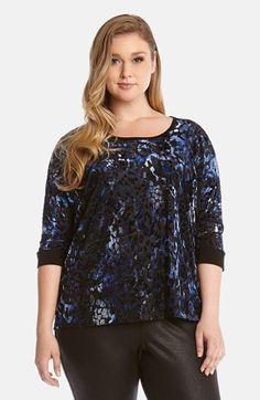 Karen Kane Black and Blue Burnout Top (Plus Size) available from Nordstrom #Karen_Kane #Black_and_Blue #Burnout #Top #Plus #Size #Womens #Fashion #KarenKane #Plus_Size_Fashion #Nordstrom