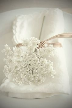 beautiful table setting -- use baby's breath. I'm terribly allergic to the flower in the pic! (idk what type of flower it is. Queen Annes Lace, Shades Of White, Deco Table, Decoration Table, Pure White, Cream White, White Flowers, Lace Flowers, Fresh Flowers