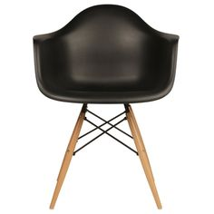 Retro Eames Style Molded Plastic Wood Eiffel Legs Black Armchair (China)