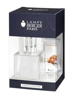 Coffret First. Lampe Encrier transparente avec 1 flacon de parfum 180ml Orange de cannelle.