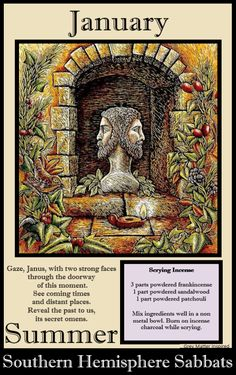 wicca calendar season winter year jan # Winter (January) involved the god Janus, who looked backwards and forwards. This is the god behind New Year's celebrations. Wiccan, Wicca Witchcraft, Celtic Paganism, Yule, Beltaine, Pagan Calendar, Celtic Calendar, Les Religions, Practical Magic