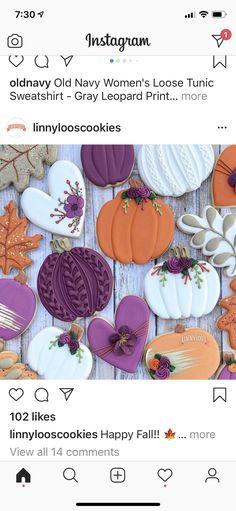 Thanksgiving Cookies, Fall Cookies, Iced Cookies, Cookies Et Biscuits, No Bake Sugar Cookies, Sugar Cookie Icing, Halloween Cookies Decorated, Halloween Sugar Cookies, Pillsbury Halloween Cookies
