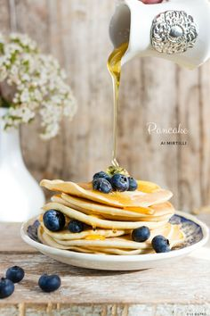 Pancake ai mirtilli e miele