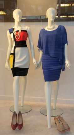 Dresses by Joseph Ribkoff and Frank Lyman; shoes by Vaneli and J. Reneé