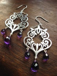 goddess of wine -amethyst and sterling silver scrollwork earrings by Joy Franklin