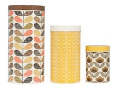 orla kiely kitchen storage canisters in mustard yellow