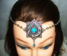 Blue CIRCLET Headpiece RENAISSANCE Medallion Headdress Hair Jewelry Chain Crown