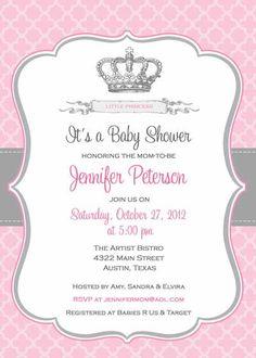 Bebé ducha invitación corona de princesa para por BellePrintables