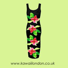 Tropical Dress Size SXL Kawaii Red Flowers Black by kawaiiLNDN, £30.00