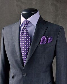 HINT OF PLUMSplashing a hint of colour in your suit will keep you standing out in a subtle way. We coordinated a clean lilac shirt and plum medallion tie with this KING & BAY Charcoal & Plum Glen Check Suit for a cohesive lookFabric by: Dormeuil ( Der Gentleman, Gentleman Style, Mens Fashion Wear, Suit Fashion, Fashion Clothes, Fashion Boots, Sharp Dressed Man, Well Dressed Men, Charcoal Suit