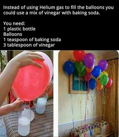 15 Creative Ideas for DIY Birthday Party Decor Use Vinegar And Baking Soda To Make Floating Balloons balloons diy diy ideas party decor easy diy how to party ideas interesting party decorations tips life hacks life hack good to know by evelyn games Floating Balloons, The Balloon, Balloon Party, Ballon Diy, Birthday Balloons, Diy Projects To Try, Birthday Parties, Cheap Birthday Gifts, Birthday Surprise Ideas