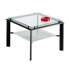 Table basse noir avec plateau en verre Diego - Genexco
