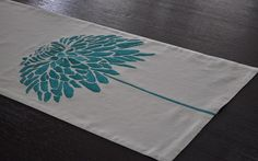 "Turquoise Peony Table Runner, Linen Table Runner 14"" x 64"", Turquoise Flower on Oatmeal Table Runner, Table Linen, Tabletop"