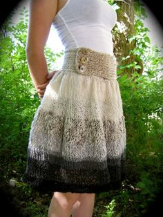 Knit skirt pattern. (Not a knitter but I like the pattern for the waist band.)