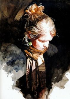 View Keinyo White's striking watercolor portraits and figures in this gallery, plus learn about his watercolor techniques in the latest Watercolor Artist. Art Watercolor, Watercolor Portraits, Watercolor Landscape, Watercolor Flowers, Art And Illustration, Watercolor Illustration, Guache, Portrait Art, Woman Portrait