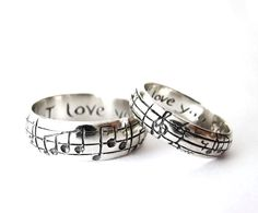 Your Song Wedding Bands - High End Nerd Wedding Rings - Geek Chic - Silver  - Personalize - Made to Order -