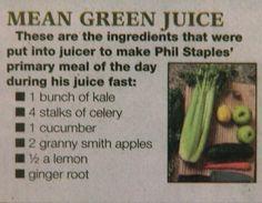 Mean Green Juice Fast recipe - from Joe Cross diet Juice Fast Recipes, Green Juice Recipes, Juicer Recipes, Smoothie Recipes, Raw Recipes, Shake Recipes, Drink Recipes, Juice Reboot, Juice Diet