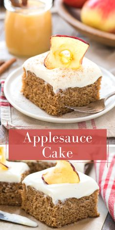 Applesauce Cake is an easy fall dessert that's made in a 9x13 inch pan! Use homemade or store bought applesauce and all your favorite fall spices to make spice cake. Pair with cream cheese frosting! Best Dessert Recipes, Apple Recipes, Cupcake Recipes, Baking Recipes, Cupcake Cakes, Cupcakes, Sweets Recipes, Yummy Recipes, Holiday Recipes