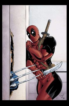 Wolverine and Deadpool reenact The Shining