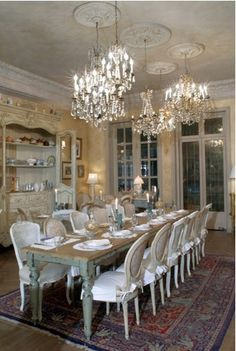 Shabby Chic Home ..shabby and vintage chic..love the multiple chandeliers