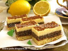 Makovo-citrónové rezy - recepty