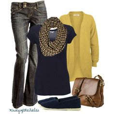 Am loving mustard this Fall and it pairs perfectly with navy. Cute, cute scarf too.
