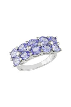 Sterling Silver Tanzanite Double Row Ring