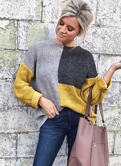 Hot Women Casual Long Sleeve Knitted Sweater Pullover Loose Jumper Tops Knitwear Winter Color Patchwork O-neck Sweaters Fashion Pullover Mode, Pullover Sweaters, Cardigans, Latest Fashion For Women, Womens Fashion, Sweater Fashion, Knitwear, Sweaters For Women, Knitting