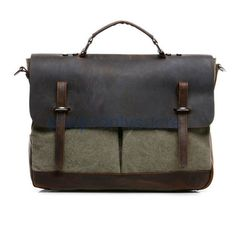 Vintage Briefcase bag Cow Leather Canvas messenger bag,laptop,Shoulder Bag, Washed Canvas Bag,Travel messenger bag