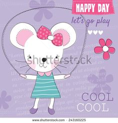 small mouse jumping with a rope vector illustration