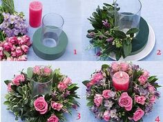 Discover thousands of images about jaqueline van der gootAdorable candle centerpiece with rosesHow to make your own floral displaysWill be fun creating.You can get most of this at the dollar tree Flower Boxes, Diy Flowers, Flower Decorations, Paper Flowers, Wedding Flowers, Wedding Decorations, Christmas Decorations, Diy Wedding Centerpieces, Dollar Tree Centerpieces