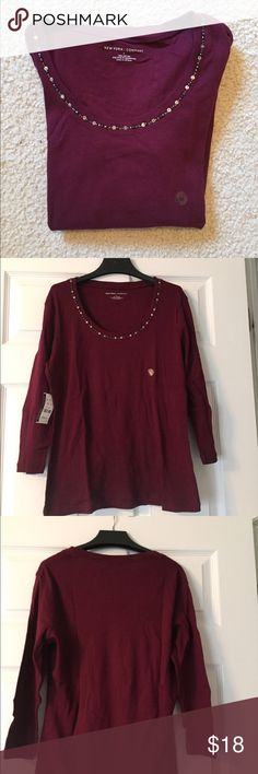NWT New York & Co 3/4 sleeve top with trim on neck NWT top with nice v neck detail. Great gift!  Smoke and pet free home New York & Company Tops Tees - Long Sleeve