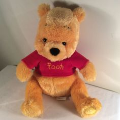 Disney Store Exclusive Winnie The Pooh Bear Plush Stuffed Animal Pooh Red Shirt  #Disney #AllOccasion