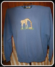 LARGE Pullover Top Sweatshirt LS Crew Neck Blue, Giraffe Embroidered  #PeanutButterJelly #CrewNeck #Casual