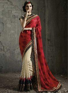 Dazzling Red And Cream Georgette Zari Work Lace Border Half N Half Designer Sarees