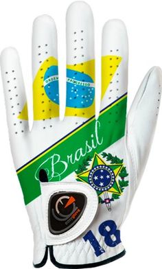 Reinforcements on these mens flag Brasil golf gloves by Easyglove allows for a great custom fit and offers extra aeration to keep your hand dry and comfortable!