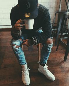 wake up ninja wake up!, it time to get this paper distressed denim & that cup of joe