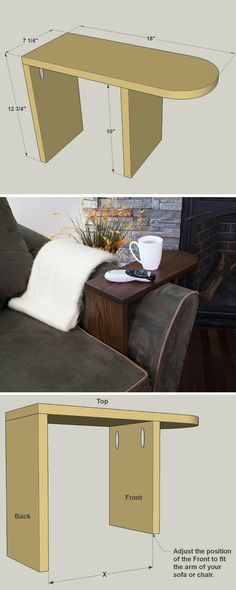 "Here's the perfect place to park your beverage, snacks, remotes; anything you want close at hand while you're relaxing on the couch. It's a ""table,"" made from just three boards, that straddles the arm of your favorite sofa or chair. Get the free DIY plans at buildsomething.com"