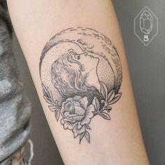 Kissing the moon... Romantic tattoo by Bicem Sinik.
