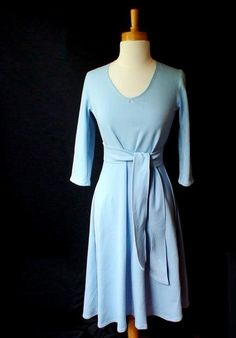 Long romantic dress with a belt by econica on Etsy