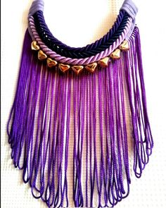 #purple #longfringe #tassel #violet #necklace #heartbeads #chunky #boldjewelry #handmade #etsy #unusual #different http://ift.tt/1KDYtE2