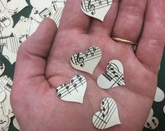 music decor This listing is for 500 sheet music hearts! Confetti pieces for decoration! They are punched from original vintage sheet music. They look great with the sheet music luminaries Music Centerpieces, Music Notes Decorations, Party Centerpieces, Centerpiece Wedding, Birthday Decorations, Vintage Sheet Music, Vintage Sheets, Amor Ideas, Music Themed Parties