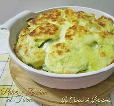 Per un delizioso contorno o un gustoso secondo piatto ecco le Patate e Zucchine al forno filanti di formaggio e con squisita e soffice besciamella