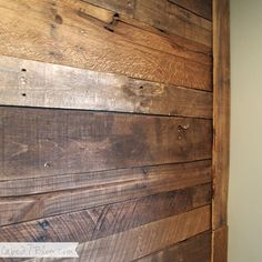 "We finished the pallet wall, whoop whop! Can I get a ""heck yes""? Last time we checked in we'd left you with this. And last time we did a walkthrough in the living room it was looking pretty sad, li. Pallet Accent Wall, Diy Pallet Wall, Pallet Walls, Pallet Ceiling, Accent Walls, Wood Pallets, Recycled Pallets, Pallet Wood, My New Room"