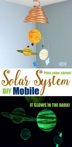 DIY Glow-in-the-Dark Solar System Mobile – Shrink Art Template [ad] Make your own Glow-in-the-Dark Solar System Mobile with this Printable Shrink Art Template / Solar System Coloring Page. This Outer Space Home Decor really is out of this world Sistema Solar, Science Room Decor, Science Art, Shrink Art, Shrink Paper, Shrink Plastic, Solar System Coloring Pages, Decor Planet, Solar System Mobile