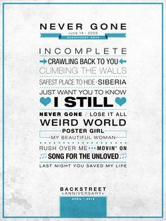 """Never Gone"" Poster Backstreet Anniversary - #type #poster #backstreetboys #bsb"