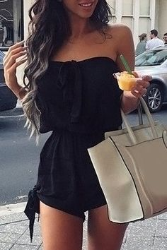 Sexy Women Strapless Bow Mini Short Jumpsuit Romper Black I like that! Casual Outfits, Summer Outfits, Cute Outfits, Outfits 2016, Beach Outfits, Look Fashion, Fashion Outfits, Fashion Trends, Beach Fashion