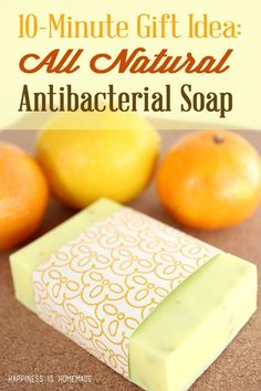 This natural citrus antibacterial soap uses essential oils that are naturally immune boosting and disinfectant. You can make a whole batch in just 10 minutes, and it smells amazing too! Using melt and pour soap Bath Recipes, Homemade Soap Recipes, Castile Soap Recipes, Diy Savon, Antibacterial Soap, Homemade Beauty Products, Beauty Recipe, Handmade Soaps, Diy Soaps
